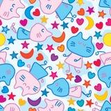 Van de de vlieghemel van de kattenslaap van de de maanster de liefde naadloos patroon stock illustratie