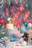 Van de de vooravondlijst van Kerstmiskerstmis de raads plaatsend Nieuwjaar Stock Afbeeldingen