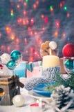 Van de de vooravondlijst van Kerstmiskerstmis de raads plaatsend Nieuwjaar Royalty-vrije Stock Afbeeldingen