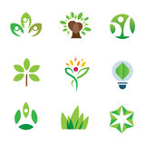 Van de de voorlichtings groene boom van het Ecomilieu van het de aard communautaire embleem het pictogramreeks Stock Foto