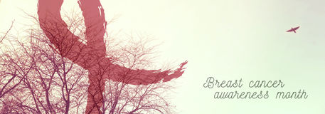 Van de de voorlichtings roze aard van borstkanker de bannerontwerp Stock Foto's
