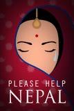 Van de de vrouwenslijtage van Nepal de schreeuw van Sari Stock Afbeeldingen