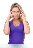 Van de de vrouwenwens van de blonde de de jonge twijfel of hoofdpijn stock foto's