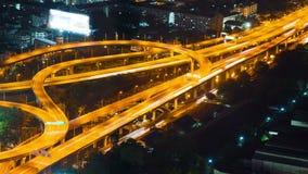 Van de de wegstraat van Bangkok het verkeersnacht timelapse stock footage