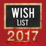 van de de wenslijst van 2017 houten de textuuraantal met Doelstellingen woord op bord Stock Foto's