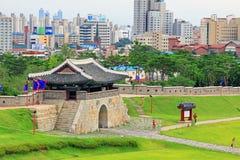 """Van de de Werelderfenis van Unesco van Korea de Plaatsen†""""Hwaseong Vesting en Suwon-Stad Royalty-vrije Stock Foto"""