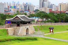 """Van de de Werelderfenis van Unesco van Korea de Plaatsen†""""Hwaseong Vesting en Suwon-Stad Royalty-vrije Stock Fotografie"""