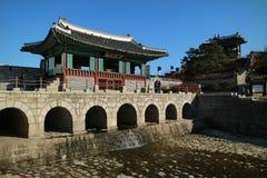 Van de de Werelderfenis van Unesco van Seoel de Vestingspaleis Hwaseong Haenggung van Suwon Hwaseong, Zuid-Korea Royalty-vrije Stock Foto's