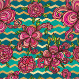 Van de de wervelingschevron van de bloemstijl het naadloze patroon stock illustratie