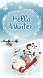 Van de de winterkaart van Hello van de de wintergroet de lange versie Stock Afbeelding