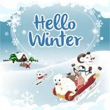 Van de de winterkaart van Hello van de de wintergroet de vierkante versie Royalty-vrije Stock Afbeeldingen