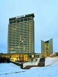 Van de de Wolkenkrabbersochtend van de Vilniuswinter de Tijdpanorama stock foto's