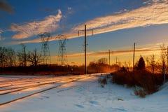 Van de de wolkenzonsondergang van de nachthemel de machtslijnen Royalty-vrije Stock Foto