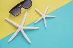 Van de de zomervakantie minimaal concept als achtergrond Zonnebril, starfishe Royalty-vrije Stock Afbeeldingen
