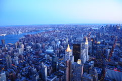 Van de de Zonsondergangnacht van New York de Scène 2015 Royalty-vrije Stock Afbeelding