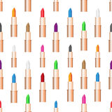 Van de de zorglippenstift van de schoonheidsvrouw de kleuren naadloos patroon eps10 Stock Fotografie