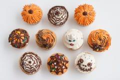 Van de de Decoratiepompoen van Halloween Cupcakes de Spin van Ghonst royalty-vrije stock fotografie