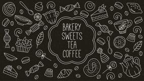 Van de de dessertsthee van bakkerijsnoepjes geplaatste de pictogrammen van de de koffiekrabbel stock illustratie