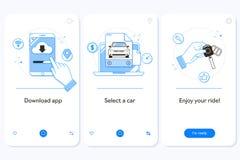 Van de de dienst het onboarding mobiele toepassing van de autohuur de paginascherm met lineaire concepten Het automobiele huren G stock illustratie