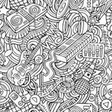 Van de de Discomuziek van beeldverhaal het leuke krabbels naadloze patroon Stock Afbeeldingen