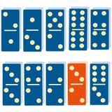Van de domino's oranje domino's van kleurendomino's het blauwe symbool van de het spellogica intellectuele vector illustratie