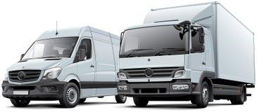 Van de doosvrachtwagen en levering goederenbestelwagen Stock Afbeelding