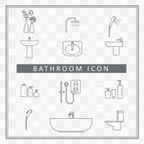 Van de de doucheruimte van het badkamers de binnenlandse pictogram vector van het de elementenoverzicht Stock Afbeeldingen