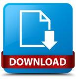 Van de download (documentpictogram) het cyaan blauwe vierkante knoop rode lint in m Royalty-vrije Stock Foto's