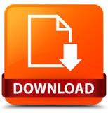 Van de download (documentpictogram) het oranje vierkante knoop rode lint in midd Stock Foto