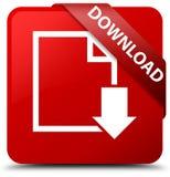 Van de download (documentpictogram) het rode vierkante knoop rode lint in hoek Stock Afbeelding