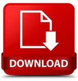 Van de download (documentpictogram) het rode vierkante knoop rode lint in midden Stock Afbeelding