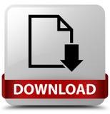 Van de download (documentpictogram) het witte vierkante knoop rode lint in middl Stock Fotografie