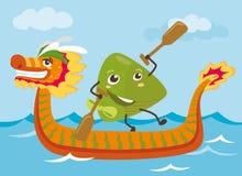 Van de draakboot & rijst de karaktersillustratie van het bolbeeldverhaal Royalty-vrije Stock Fotografie