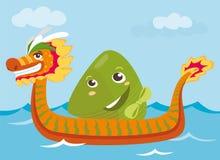 Van de draakboot & rijst de karaktersillustratie van het bolbeeldverhaal Stock Fotografie