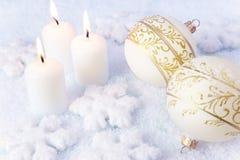 Van de elegantie van Kerstmis Achtergrond/van de Vakantie Kaarsen Royalty-vrije Stock Fotografie