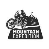 Van de enduro de extreme motorfiets van het motocrossras van het de bestuurdersembleem zwart-wit illustratie vector illustratie