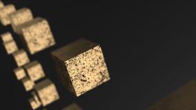 Van de ernst gouden kubus abstracte 3d animatie als achtergrond vector illustratie