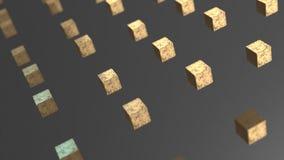 Van de ernst gouden kubus abstracte 3d animatie als achtergrond royalty-vrije illustratie