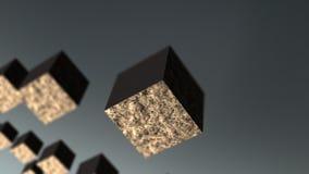 Van de ernst matal kubus abstracte 3d animatie als achtergrond vector illustratie