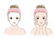 Van de esthetische van vrouwen vastgesteld Glimlachtype huidzorg vector illustratie