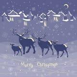 Van de familiekerstmis van het Kerstmisrendier dierlijke de nachtwijnoogst Stock Fotografie