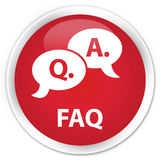 Van de Faq (vraag- en antwoord bellenpictogram) premie de rode ronde knoop Stock Foto's