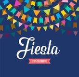 Van de fiestabanner en affiche ontwerp met vlaggen, decoratie stock illustratie