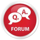 Van de forum (vraag- en antwoord bellenpictogram) premie de rode ronde knoop Stock Foto