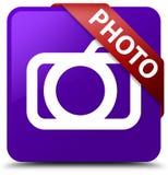 Van de foto (camerapictogram) het purpere vierkante knoop rode lint in hoek Stock Afbeelding