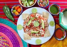 Van de garnalen ceviche de ruwe zeevruchten van Camaron salade Mexico Stock Foto