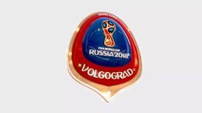 Van de de gastheerstad van Volgograd het symbool logotype medaille van Rusland 2018 stock illustratie