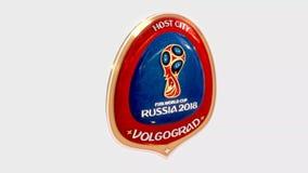 Van de de gastheerstad van Volgograd het symbool logotype medaille van Rusland 2018 vector illustratie