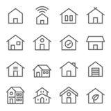 Van de de Gebouwen vectorlijn van de divers Onroerend goed Moderne Stijl het pictogramreeks stock illustratie
