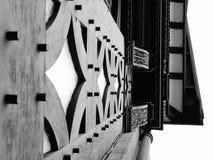 Van de gebouwencheshire van Chester zwart-wit tudordetail stock foto